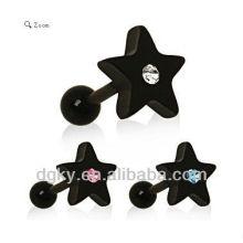 Fashion Black Star Gemmed boucle d'oreille étoile noire
