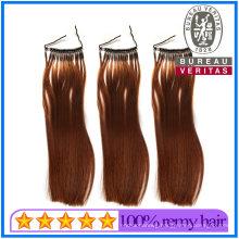 Brazilian Human Virgin Ring Hair Extensions Brwon Color 20inch 100g Weght Remy Hair