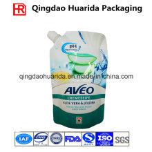 Bolsa de plástico personalizada de jabón líquido, bolsa de plástico de pie