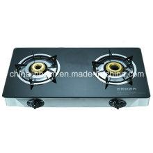 2 quemadores de cristal templado superior de acero inoxidable quemador de cocina de gas / cocina de gas