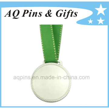 Nickel Medal with Green Metallic Ribbon