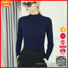New fashion roll neck cashmere sweater pullover navy cashmere sweater