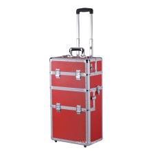 Caisse de coffre en aluminium portative à chaud avec roues