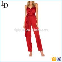 Глубокий V шеи женщин комбинезон широкий ноги прямые оптовые костюм