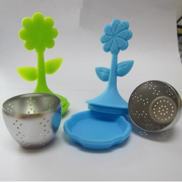 Green Tea Infuser Material Silicone Lotus Handle yang aman