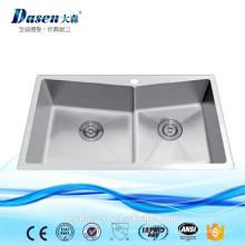 DS-7845H Stain Finish lavagem a mão de aço inoxidável pia dissipadores de calha de pedra pia caddie