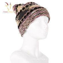 Chapéu de senhora Cashmere inverno quente tricotar chapéu Pompom