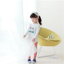 Filles d'automne blanc T-shirts T-shirt long queue, plaine aucune marque T-shirt robe pour les enfants