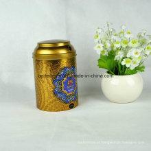 Caixa de lata de metal redonda personalizada para chá