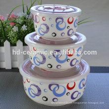 Tazón de fuente de cerámica de la porcelana del tazón de fuente del tazón de fuente del tazón de fuente, 3pcs cuenco de la preservación, tazón de fuente fresco del sello 3pcs,