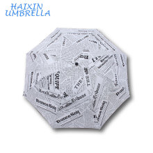 British Style Alphabet Manual Open Foldable Unisex Heat Transfer Printing Personality Fashion English Newspaper Umbrella Factory