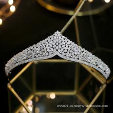 Nueva boda princesa plata boda diademas cristal noche joyería para el cabello corona real novia circonita tiaras con circonita cúbica