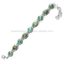 Turquoise Gemstone 925 Silver Bracelet, Vente en gros Gemstone Silver Jewelry From India