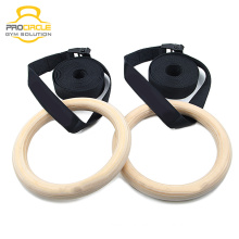 Supplying Wooden Gym Rings/Gymnastic Rings with Colorful Strap