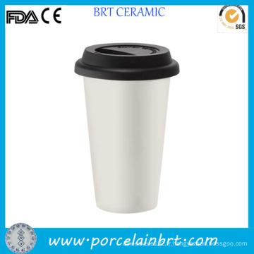 Tasse en céramique à double paroi avec couvercle en silicone