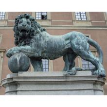 Japonais extérieur grand bronze antique lion roi jardin statues