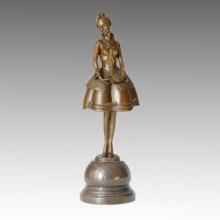 Escultura de bronce de la niña de la estatua del bailarín, P. Philippe TPE-317