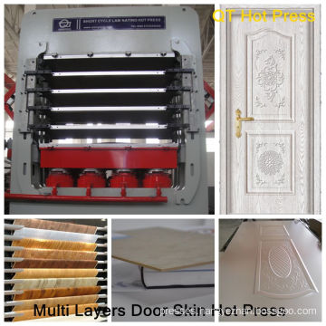 Multi layers hot press for making door skin