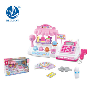 children Ice cream toy with cash register, Ice Cream Shop Pretend Play Battery Operated Toy Cash Register w/ Lights, Sounds