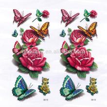 Patrón de peonía con estilo chino de mariposa estilo asiático Pegatina de tatuaje 3D personalizado a prueba de agua