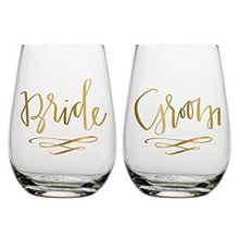Haonai Bride Groom Wine Glass Set - Set of 2 Stemless Wine Glasses for Wedding Couple