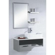 Hangzhou popular espejo de gabinete de acero inoxidable de cerámica baño lavabo