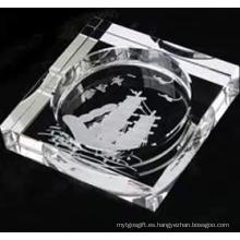 Nuevo Desgn grabado profundo para decoración o regalo Cenicero de cristal cigarro