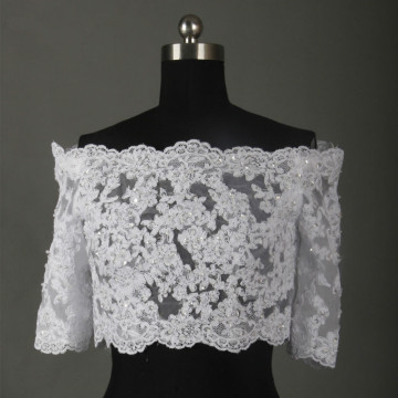 Robe De Mariage Half Sleeves Bridal Wedding Jacket 2016 Real Photos Beaded Appliqued Bolero Chaqueta De Novia Bride Bolero