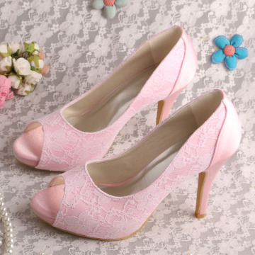 Mint Hijau Pernikahan Lace Shoes Heels Buka Toe