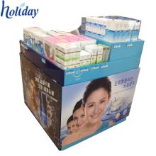 Soporte de exhibición hecho a medida del cubo de la descarga de la cartulina para la promoción, soporte de exhibición de la publicidad de la cartulina para los productos con mejores ventas