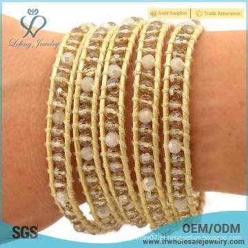 Nova chegada boêmio jóias de ouro boêmio pulseira wrap em torno de cristal grânulo pulseira