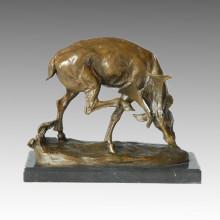 Statue de cerf animal sculpture en bronze de caribou, Milo Tpal-131
