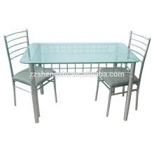 Mesa de comedor de vidrio templado set 1 + 2 muebles de comedor conjunto