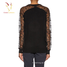 Damenmode schwarz Strickpullover Spitze Ärmel Pullover Pullover