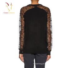 Moda feminina preto camisola de malha camisola de renda camisola jumper