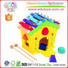Xilófono y formador de la forma casa de madera niños educativos de aprendizaje temprano de juguete