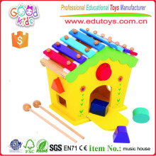 Xylophone & Shape Sorter House Wooden Educational Kids Early Learning Toy