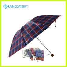 Paraguas plegable a prueba de viento promocional de aluminio del auto 3 plegables con la bolsa