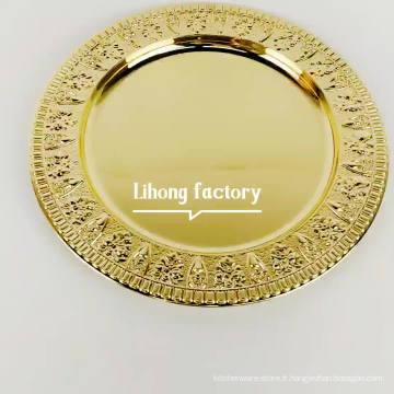 mariage de luxe en acier inoxydable revêtu d'or assiettes de chargeur