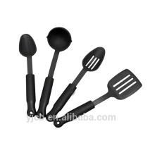 Ensemble de vaisselle de 4 ustensiles en nylon, noir