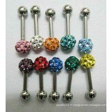 Boule de cristal colorée / boule d'oreille en cristal /