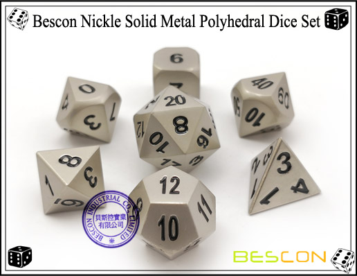 Bescon Nickle Solid Metal Polyhedral Dice Set-4