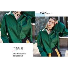 Темно-Зеленый Мода Весна Свободные Рукава Дамы Рубашка