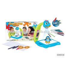 Venda quente 3in1 lâmpada de mesa projeção brinquedos máquina de pintura com tela de projeção H90836