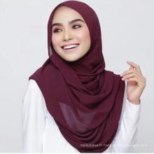 Dubaï chaud en gros sous bulle châle personnalisé soie dubai tête femmes musulman écharpe hijab