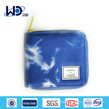 Blue and white zip canvas little purse