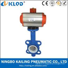 DN80 Raccord de plaquette de 3 pouces Air valve à papillon pneumatique à action pneumatique