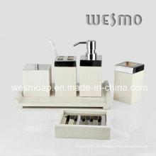 Blanco lavado accesorios de bambú de baño de color (wbb0304b)