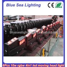 6 x 10W RGBW 4in 1 led moving led sealed beam