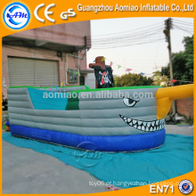 Fresco tubarão gigante bouncy castelo, melhor vendendo barco pirata navio casa